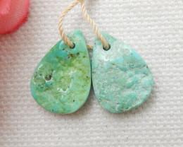 9.5cts Raw Turquoise Earrings,Handmade Gemstone ,Turquoise Earrings F74
