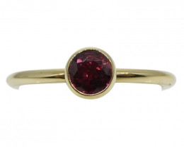 Rubelite Tourmaline Stacker Ring set in 14kt Yellow Gold