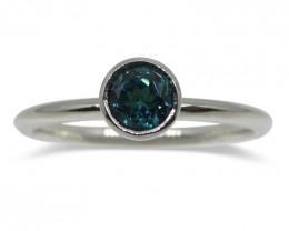 Blue Indicolite Tourmaline Stacker Ring set in 14kt White Gold