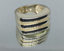 Modern Geometric Ladies Sterling Silver Ring Stunning Design !