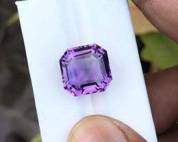 5.85 Ct Natural Purple Asscher Cut Transparent Amethyst Gemstone