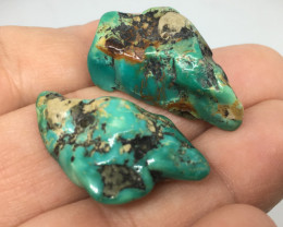 73.20 Carats Turquoise Nuggets Bluish Green Two Vintage Pieces !