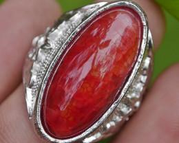 83.50 CT Beautiful Red Dragon Skin Agate Jewelry Ring