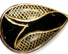 45.52-CTS BLACK ONYX 24K GOLD ENGRAVED TBG-3365