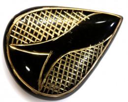 42.94-CTS BLACK ONYX 24K GOLD ENGRAVED TBG-3368