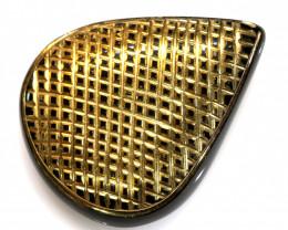 31.90-CTS BLACK ONYX 24K GOLD ENGRAVED TBG-3370