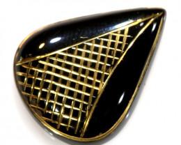 27.80 -CTS BLACK ONYX 24K GOLD ENGRAVED TBG-3371
