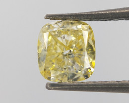 Cushion cut diamond , Yellow color diamond , 0.47 cts