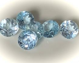 6 pieces of sky blue TOPAZ 6mm No reserve