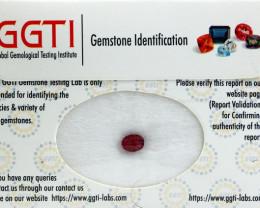 GGTI-Certified-1.30 ct Red Ruby Gemstone Natural