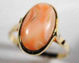 Cts.   13.30 Pink Coral On Silver gold plated       RF516