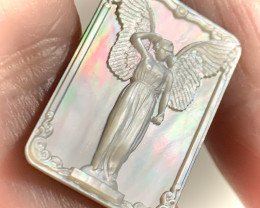 Mother of Pearl Angel Carved Cameo Shell Cabochon No reserve