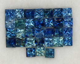 4.05 ct. 2.5-2.8 mm. NATURAL BLUE SAPPHIRE PRINCESS CUT 31PCS