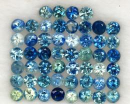 4.02 ct. 2.5 mm. NATURAL  SAPPHIRE DIAMOND CUT 52PCS.
