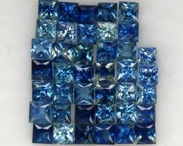 4.01 ct. 2.3-2.5 mm. PRINCESS CUT BLUE SAPPHIRE NATURAL GEMSTONE 40PCS.