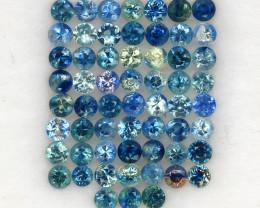 4.02 ct. 2.4 mm. NATURAL GEMSTONE MULTI COLOR SAPPHIRE DIAMOND CUT 59PCS.