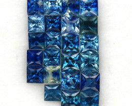 4.04 ct. 2.8-3 mm. PRINCESS CUT BLUE SAPPHIRE NATURAL GEMSTONE 22PCS.