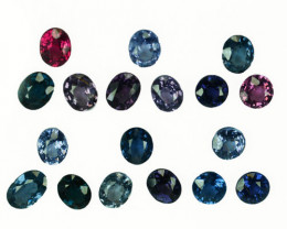 7.81 Cts Natural Fancy Spinel Multi-Color 5x4mm Oval Cut 18Pcs