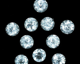 10.23 Cts Natural Sparkling White Zircon 6mm Round Cut 10Pcs Tanzania