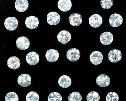 13.87 Cts Natural Sparkling White Zircon 4.5mm Round Cut 27Pcs Tanzania