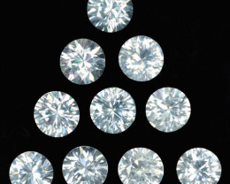 19.10 Cts Natural Sparkling White Zircon 7mm Round Cut 10Pcs Tanzania