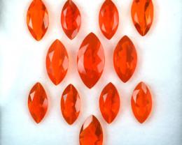 7.51 Cts Natural Reddish Orange Fire Opal 12x6 & 9x4.5mm Marquise 12Pcs
