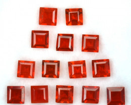 3.36 Cts Natural Mexican Fire Opal Fiery Red 4mm Square 14Pcs