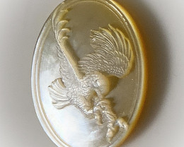 Mother of Pearl Eagle Carved Cameo Shell Cabochon No Reserve