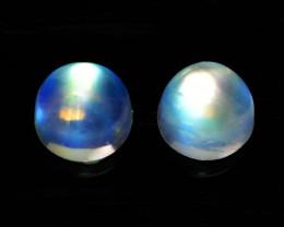 2.43 Cts Natural Rainbow Moonstone 6mm Round Cab 2Pcs Bihar-India