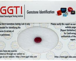 GGTI-Certified-1.35 ct Red Ruby Gemstone Natural