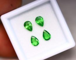 Tsavorite 1.60Ct 4Pcs Natural Vivid Green Color Tsavorite Garnet EN18