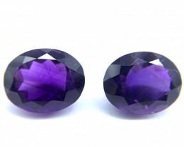 Amethyst Lot of 2 gemstones 9.25 ct  & 9.04 ct Oval cut