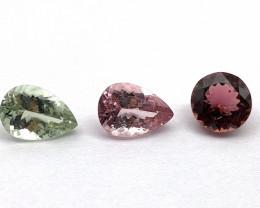 Tourmaline 7.39 ct Lot of 3 gemstones