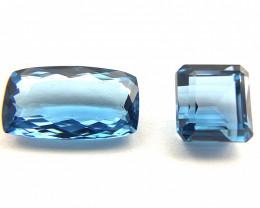 Blue Topaz 25.45 ct Lot of 2 gemstones Mixed cut