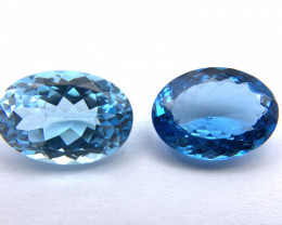 Blue Topaz 24.46 ct Lot of 2 gemstones Oval cut
