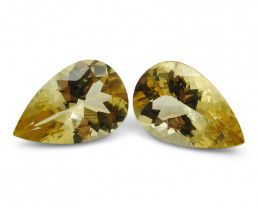 4.48 ct Pair Pear Shape Heliodor/Golden Beryl CGL-GRS Certified