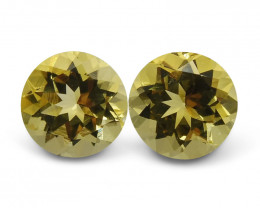 3.40 ct Pair Round Heliodor/Golden Beryl CGL-GRS Certified