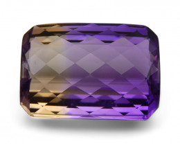 31.92 ct Emerald Checkerboard Cut Ametrine CGL-GRS Certified