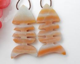 57cts Carved Fish Bone Earrings ,Gemstone Earrings ,Natural Amazonite Earri