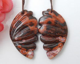 63cts Butterfly Earrings,63ct Natural Butterfly Handcarved Beautiful Butter