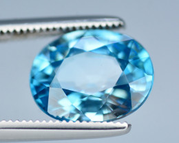 AAA Color 3.65 Ct Natural Vibrant Blue Zircon From Cambodia. RA1