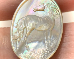 Mother of Pearl Horse Carved Cameo Shell Miniature no reserve