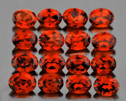 4x3 mm Oval 16pcs 3.45cts Orange Red Garnet [VVS]