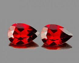 9x6 mm Pear 2 pcs 2.95cts Red Garnet [VVS]
