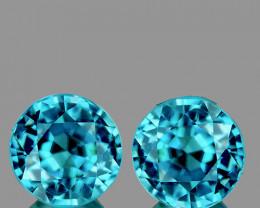 6.00 mm Round 2 pcs 2.51cts Blue Zircon [VVS]