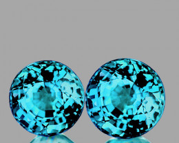 6.50 mm Round 2 pcs 2.83 cts Blue Zircon [VVS]