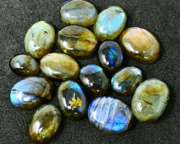 Genuine 209.00 Cts Amazing Flash Labradorite Cabochon Lot