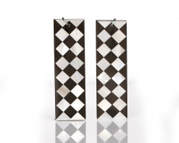 New design! M.O.P and Obsidian Intarsia Rectangle Gemstone Earrings Bead B0