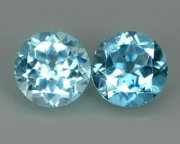 4.80 Cts swiss Blue Topaz 8.01 mm round pair 2 pcs