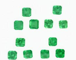 1.00 Cts Natural Vivid Green Emerald 2.5mm Octagon Cut 12Pcs Colombia